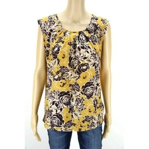 The Limited Women's Top Blouse Yellow White Brown
